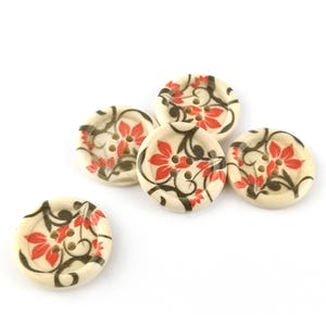 Mixed-Colour/Cream Wood 25mm 4-Hole Round Buttons Pack Of 5 HA10740