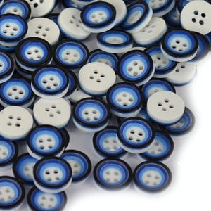 Blue/White Resin 13mm 4-Hole Round Buttons Pack Of 30 HA10780