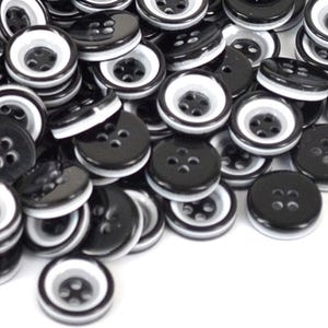 Black/White Resin 13mm 4-Hole Round Buttons Pack Of 30 HA10800