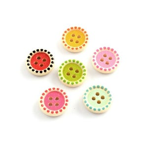 Mixed-Colour Wood 15mm 4-Hole Round Buttons Pack Of 30 HA10830