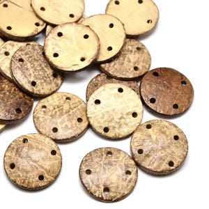 Beige/Brown Coconut 30mm 4-Hole Round Buttons Pack Of 10 HA10890