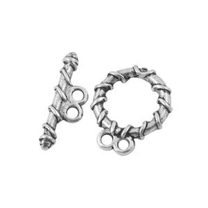 Antique Silver Tibetan Zinc 18mm x 20mm Round Toggle Clasps Pack Of 10 HA11840