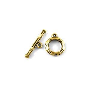 Antique Gold Tibetan Zinc 14.5mm x 22mm Round Toggle Clasps Pack Of 20 HA12100