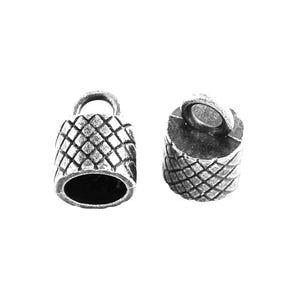 Antique Silver Tibetan Zinc 10.5mm x 15mm Barrel End Caps Pack Of 10 HA12185