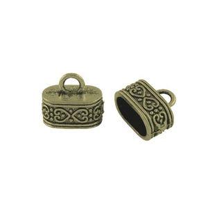 Antique Bronze Tibetan Zinc 10mm x 15mm Oval End Caps Pack Of 10 HA12275