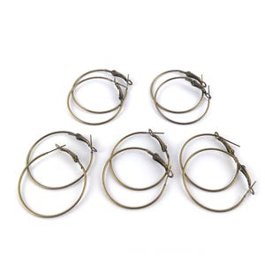 Antique Bronze Iron 0.6mm x 35mm Round Earring Wires Pack Of 10 HA12280