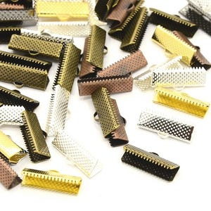 Mixed-Colour Iron 16mm x 6.5mm Rectangle Ribbon Ends Pack Of 20 HA12290
