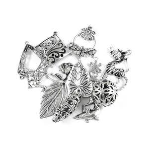 Antique Silver Tibetan Zinc Mixed Shape Charms 5-40mm Pack Of 30g HA12330