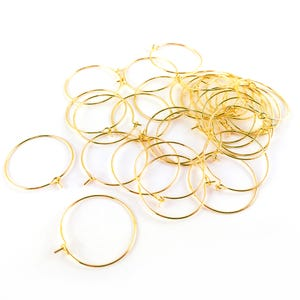 Golden Brass 0.8mm x 25mm Round Wine Glass Charm Rings Pack Of 30 HA12355