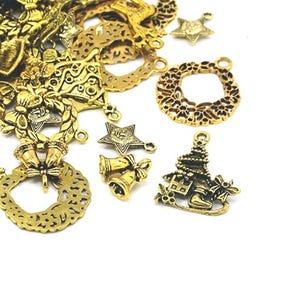 Antique Gold Tibetan Zinc Mixed Christmas Charms 5-40mm Pack Of 30g HA12410