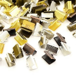 Mixed-Colour Iron 10mm x 5.5mm Rectangle Ribbon Ends Pack Of 30 HA12475