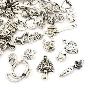 Antique Silver Tibetan Zinc Mixed Food Charms 5-40mm Pack Of 30g HA12480