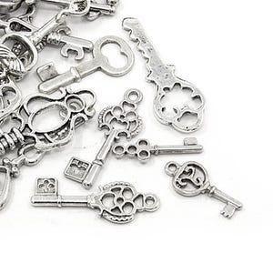 Antique Silver Tibetan Zinc Mixed Keys Charms 5-40mm Pack Of 30g