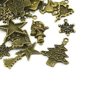 Antique Bronze Tibetan Zinc Mixed Christmas Charms 5-40mm Pack Of 30g HA12490