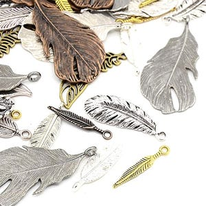 Multicolour Tibetan Zinc Mixed Feather Charms 5-40mm Pack Of 30g