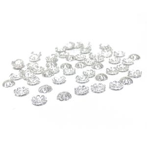 Silver Tone Brass  Flower Bead Caps Pack Of 50+ HA12650