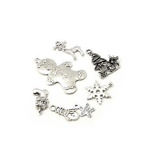 Antique Silver Tibetan Zinc Mixed Christmas Charms 5-40mm Pack Of 30g HA12755