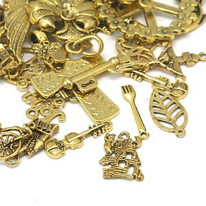 Antique Gold Tibetan Zinc Mixed Shape Charms 5-40mm Pack Of 30g HA12760