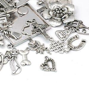 Antique Silver Tibetan Zinc Mixed Shape Charms 5-40mm Pack Of 30g HA12830