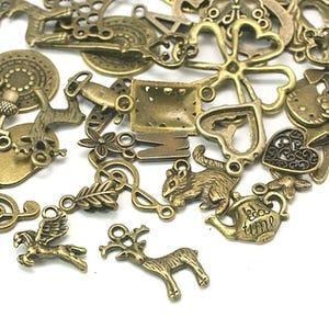 Antique Bronze Tibetan Zinc Mixed Shape Charms 5-40mm Pack Of 30g HA12840