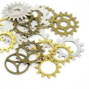 Multicolour Tibetan Zinc Mixed Cogs Charms 5-40mm Pack Of 30g