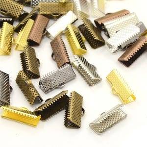 Mixed-Colour Iron 19.5mm x 5.5mm Rectangle Ribbon Ends Pack Of 20 HA12880