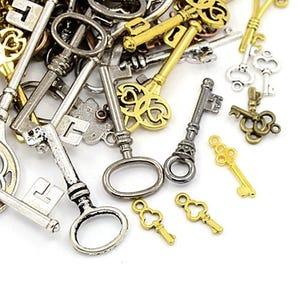 Multicolour Tibetan Zinc Mixed Keys Charms 5-40mm Pack Of 30g
