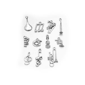 Antique Silver Tibetan Zinc Mixed Music Charms 5-40mm Pack Of 30g HA12985
