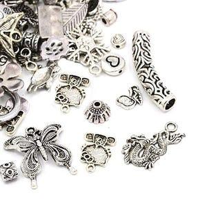 Antique Silver Tibetan Zinc Mixed Shape Charms 5-40mm Pack Of 30g HA13010