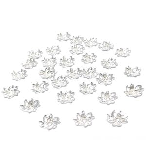 Silver Tone Brass  Flower Bead Caps Pack Of 30 HA13020