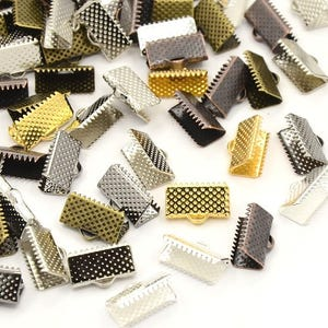 Mixed-Colour Iron 13mm x 5.5mm Rectangle Ribbon Ends Pack Of 20 HA13055