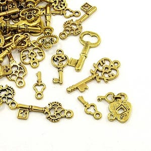 Antique Gold Tibetan Zinc Mixed Key Charms 5-40mm Pack Of 30g HA13145