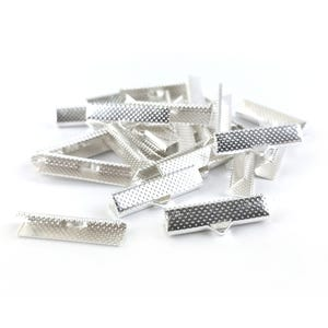 Silver Tone Iron 8mm x 25mm Rectangle Ribbon Ends Pack Of 30 HA13165