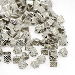 Antique Silver Iron 6mm x 8mm Square Ribbon Ends Pack Of 50+ HA13185