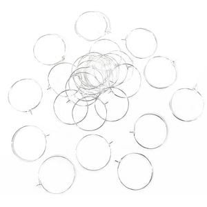 Silver Tone Brass 0.8mm x 25mm Round Wine Glass Charm Rings Pack Of 30 HA13200