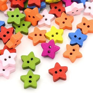 Mixed-Colour Wood 13mm 2-Hole Star Buttons Pack Of 30 HA14070