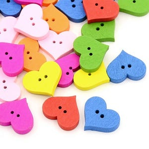 Mixed-Colour Wood 20mm 2-Hole Heart Buttons Pack Of 20 HA14620