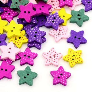Mixed-Colour Wood 16mm 2-Hole Star Buttons Pack Of 30 HA14710