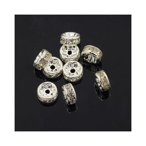 Bright Silver Rhinestone Brass Rondelle Spacer Beads 4mm x 8mm Pack Of 10 HA15025