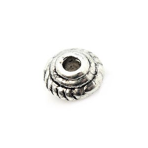 Antique Silver Tibetan Zinc Bicone Spacer Beads 3mm x 5mm Pack Of 30 HA15115