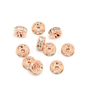 Rose Gold Rhinestone Brass Rondelle Spacer Beads 4mm x 8mm Pack Of 10 HA15155