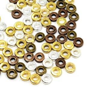 Mixed-Colour Tibetan Zinc Donut Spacer Beads 6mm Pack Of 30+ HA15265