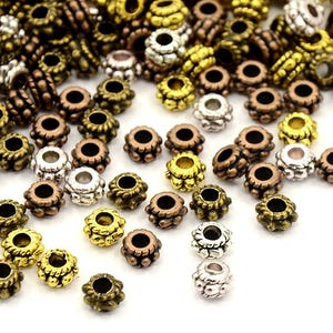 Mixed-Colour Tibetan Zinc Flower Spacer Beads 5mm Pack Of 40+ HA15330