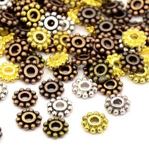Mixed-Colour Tibetan Zinc Flower Spacer Beads 7mm Pack Of 40+ HA15365
