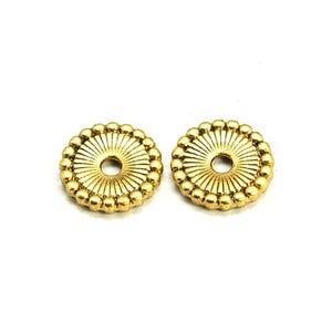 Antique Gold Tibetan Zinc Flat Coin Beads 12mm Pack Of 30 HA15375