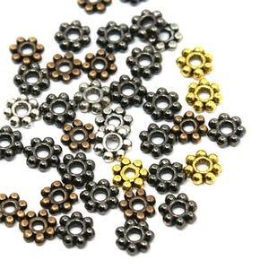 Mixed-Colour Tibetan Zinc Flower Spacer Beads 5mm Pack Of 70+ HA15400