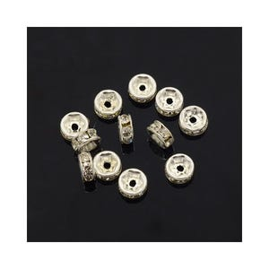 Bright Silver Rhinestone Brass Rondelle Spacer Beads 3mm x 6mm Pack Of 10 HA15415