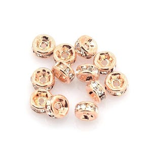 Rose Gold Rhinestone Brass Rondelle Spacer Beads 2mm x 4mm Pack Of 10 HA15420