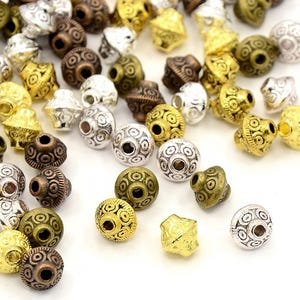 Mixed-Colour Tibetan Zinc Bicone Spacer Beads 7mm Pack Of 20 HA15480