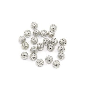 Antique Silver Brass Filigree Spacer Beads 6mm Pack Of 30 HA15525
